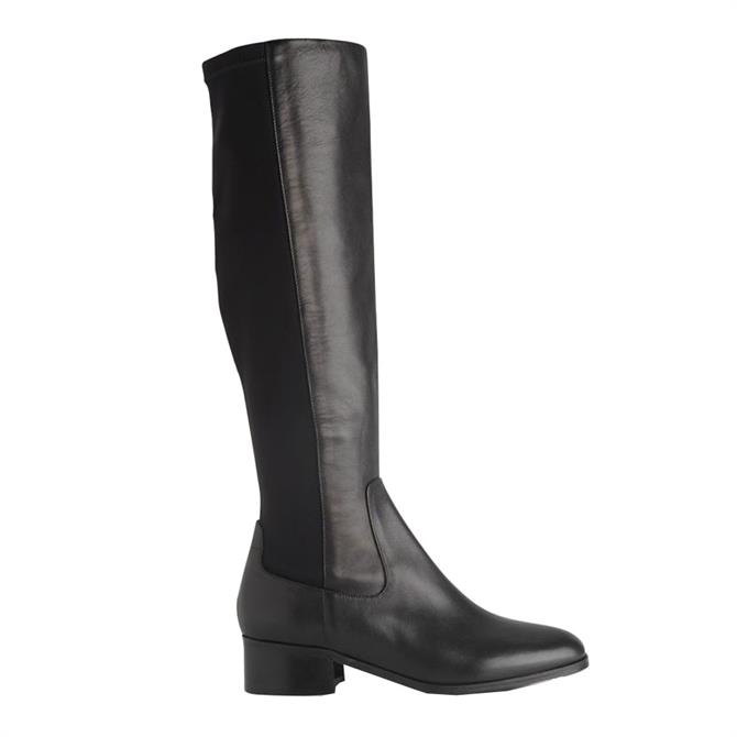 L.K. Bennett Bella Black Stretch Leather Knee Boots