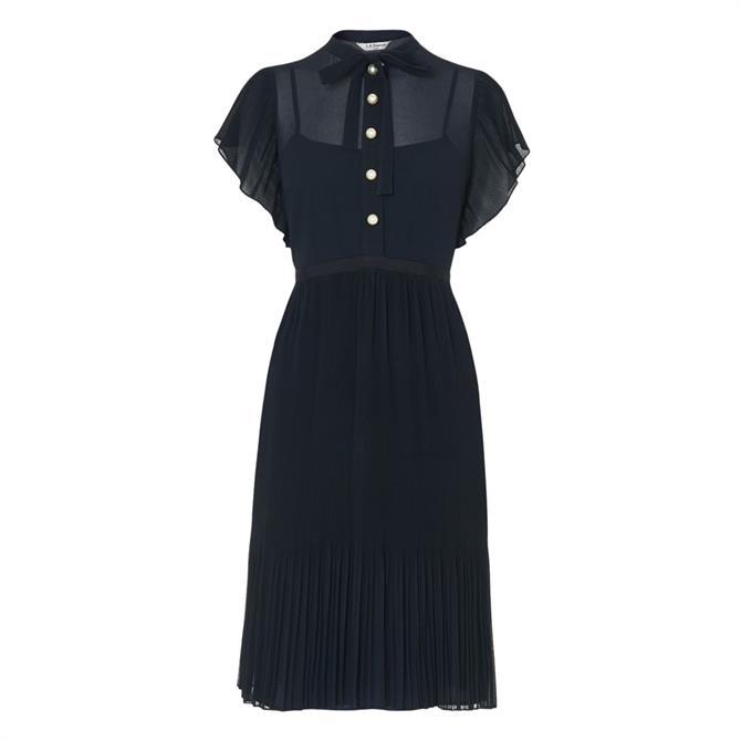 L.K. Bennett Brooks Navy Pleated Dress