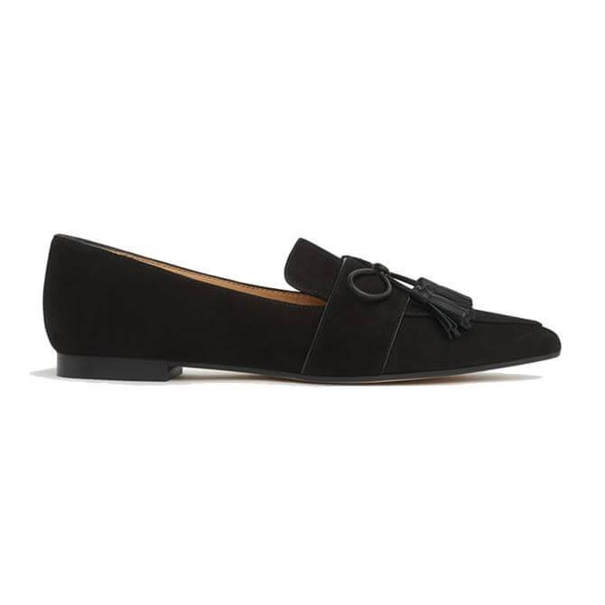 L.K. Bennett Celina Black Suede Tassel Loafers