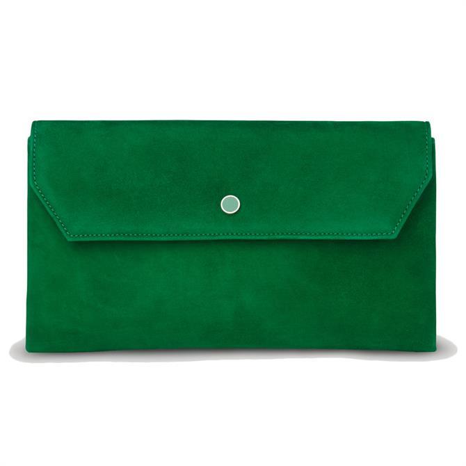 L.K. Bennett Dora Green Suede Envelope Clutch