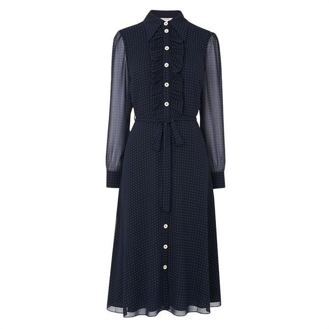 L.K. Bennett Ensor Navy Polka Dot Shirt Dress
