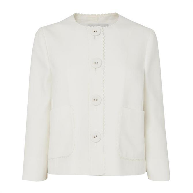 L.K. Bennett Millie Cream Scallop Edge Jacket