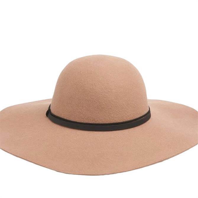 L.K. Bennett Kendall Camel Fabric Fedora Hat