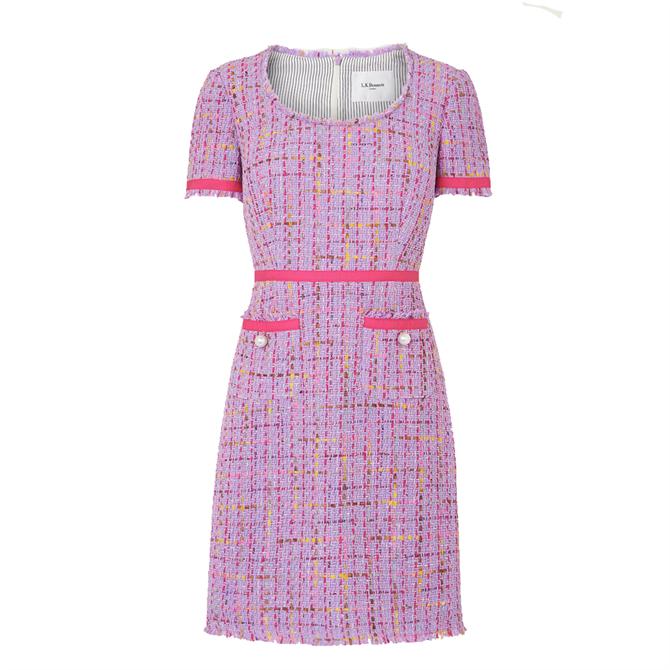 L.K. Bennett Albers Lilac Tweed Shift Dress