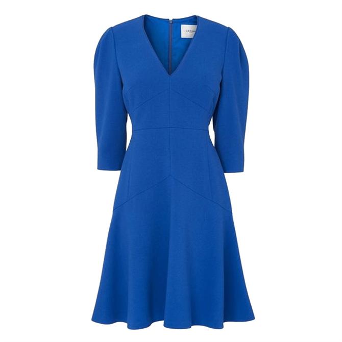 L.K. Bennett Belle Cobalt Blue Crepe Fit & Flare Dress