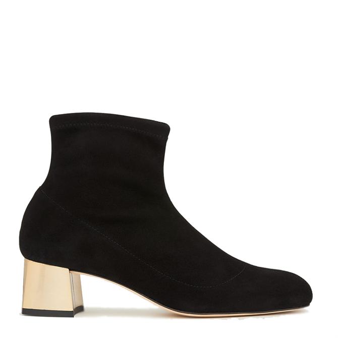 L.K. Bennett Grace Black Stretch Suede Gold Heel Ankle Boots