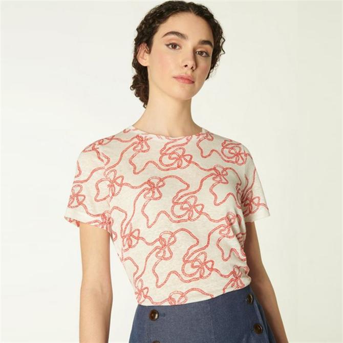L.K. Bennett Lulu Red & White Rope Print Linen T-Shirt