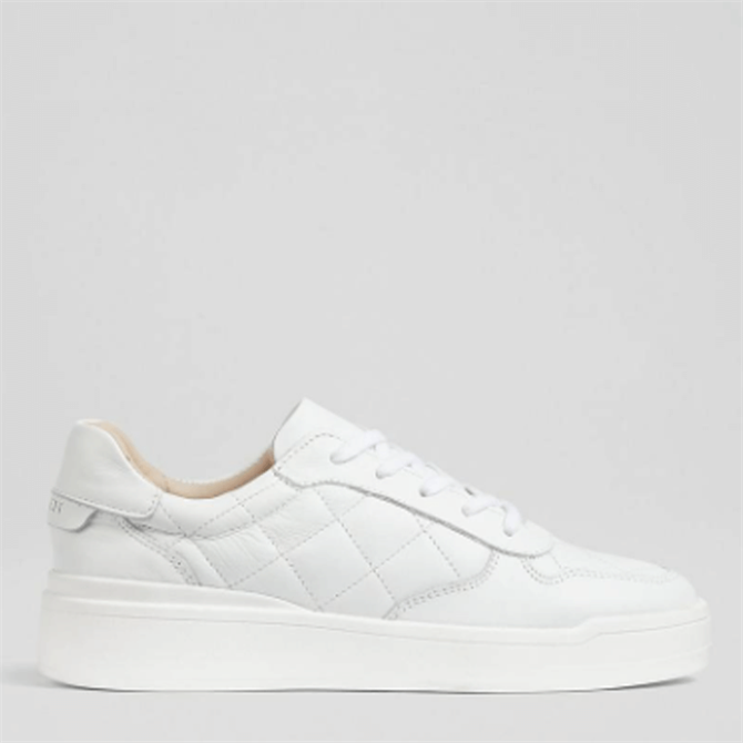 L.K. Bennett Campbell White Leather Quilted Trainers