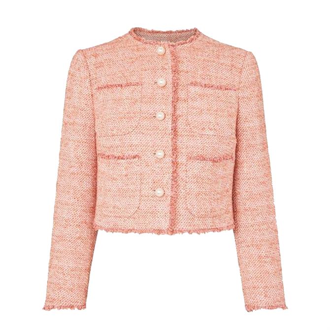 L.K. Bennett Celeste Pink Tweed Cropped Jacket
