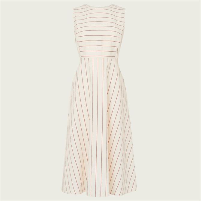 L.K. Bennett Clementine Cream & Red Stripe Cotton-Linen Dress