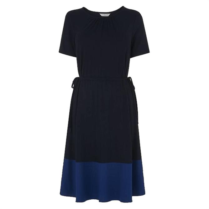 L.K. Bennett Ross Navy Jersey Colour Block Dress