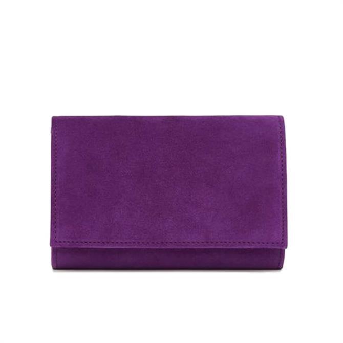 L.K. Bennett Danni Purple Suede Clutch Bag