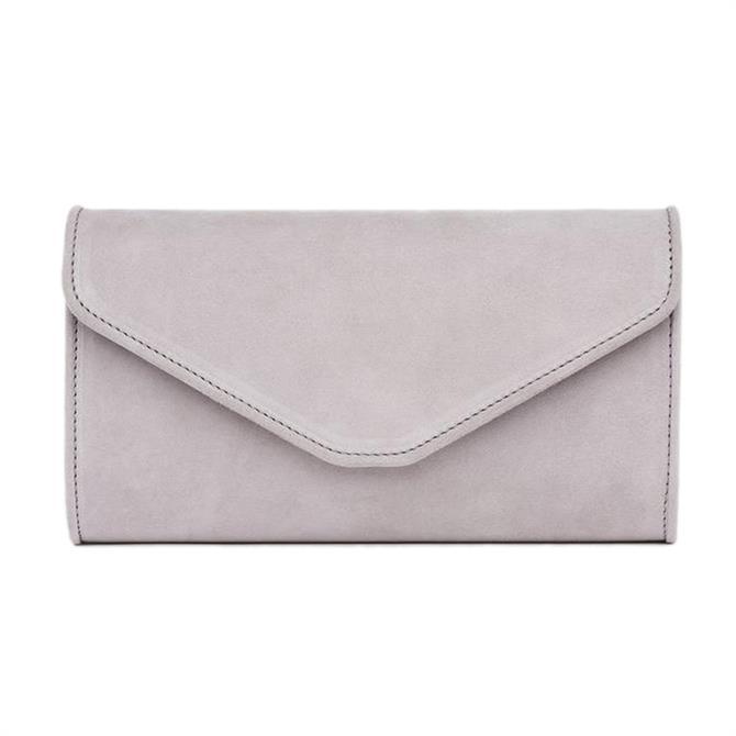 L.K. Bennett Dominica Pale Grey Suede Clutch Bag