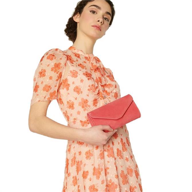 L.K. Bennett Dominica Pink Suede Clutch Bag