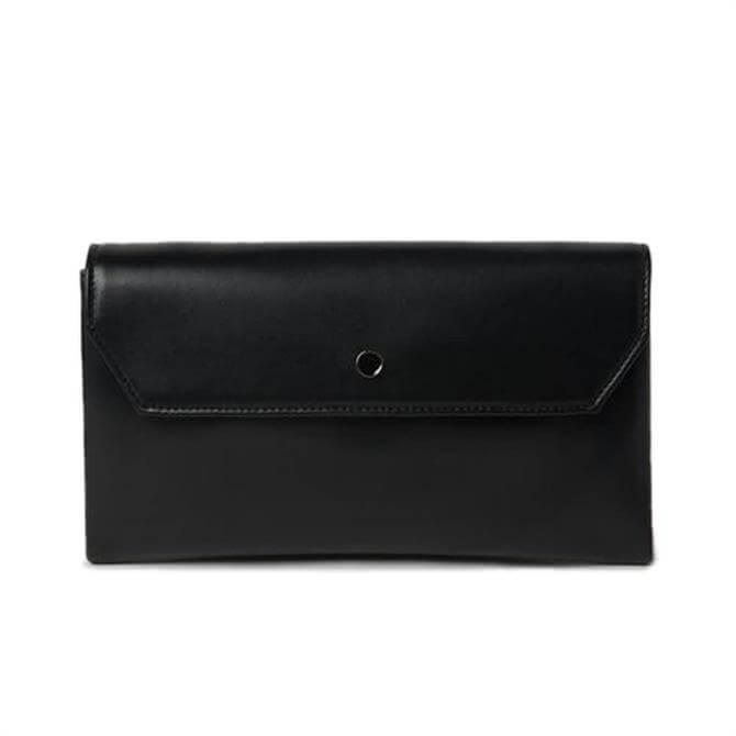 L.K. Bennett Dora Black Leather Envelope Clutch
