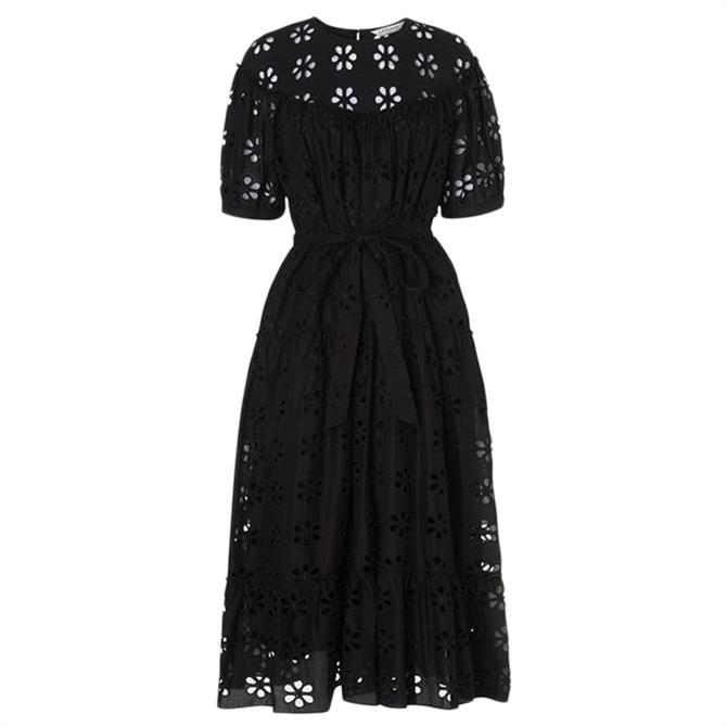L.K. Bennett Rego Broderie Anglaise Black Cotton Midi Dress