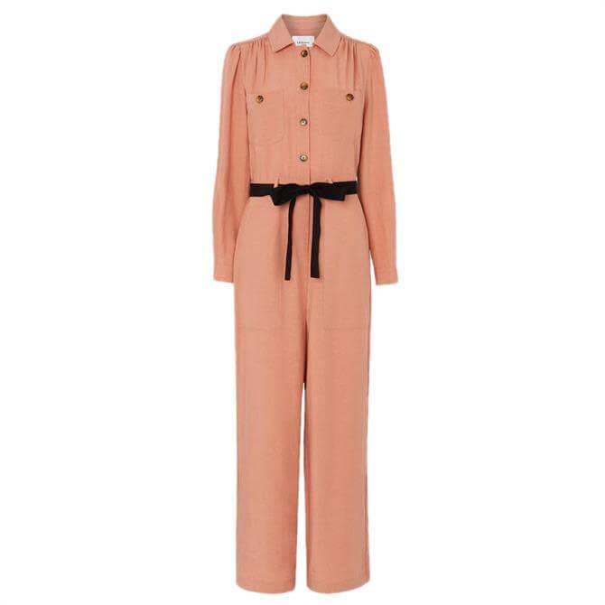 L.K. Bennet Cecil Pink Tencel-Linen Jumpsuit