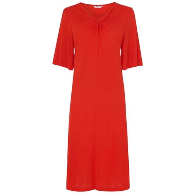 L.K. Bennett Twist Red Twist Neck Jersey Dress