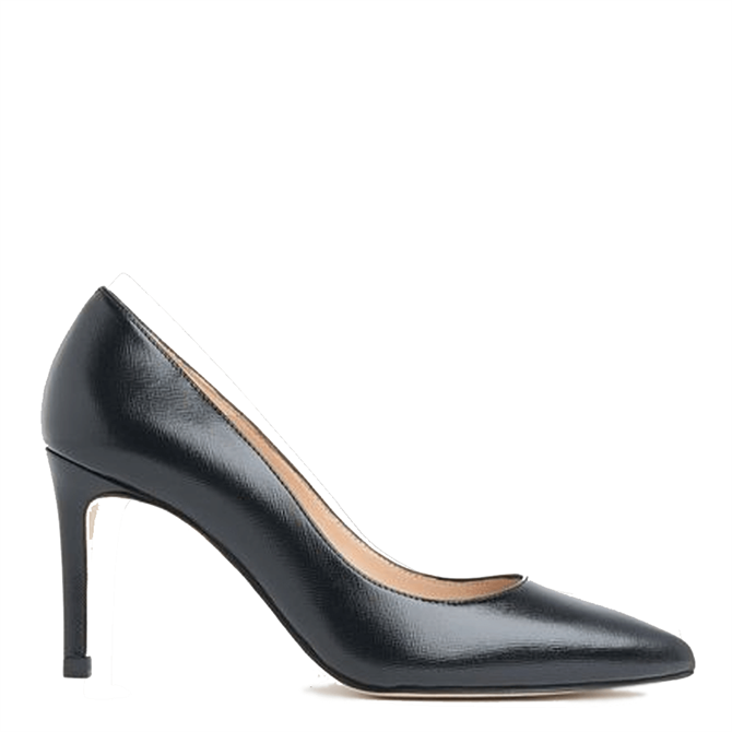 L.K.Bennett Floret Black Leather Pointed Toe Courts