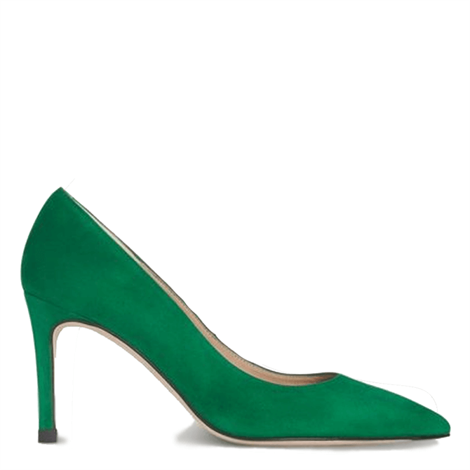 L.K. Bennett Floret Green Suede Pointed Toe Courts