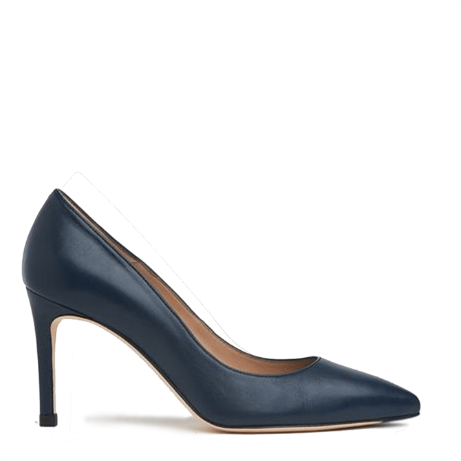 L.K.Bennett Floret Navy Leather Pointed Toe Courts