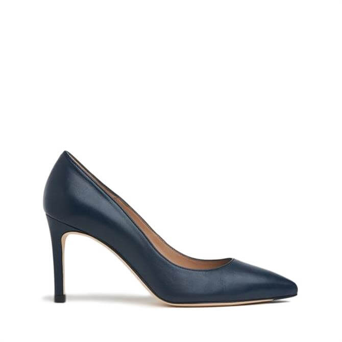 L.K. Bennett Floret Navy Leather Pointed Toe Courts