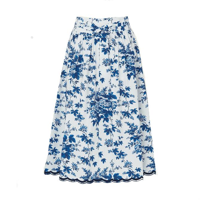 L.K. Bennett Hodgkin Toile De Jouy Print Cotton Skirt
