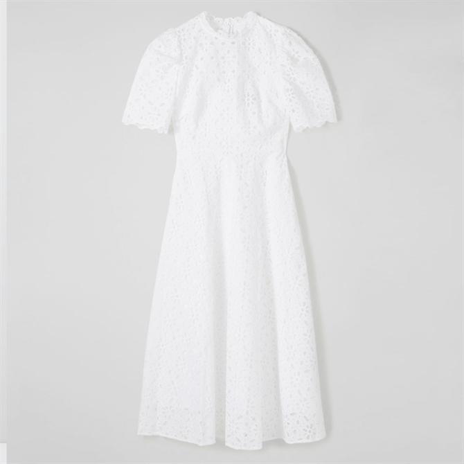 L.K. Bennett Honor White Cotton Broderie Anglaise Dress