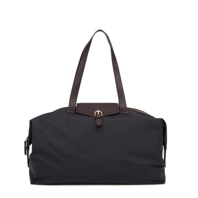 L.K. Bennett Leona Black Nylon & Bordeaux Leather Weekend Bag