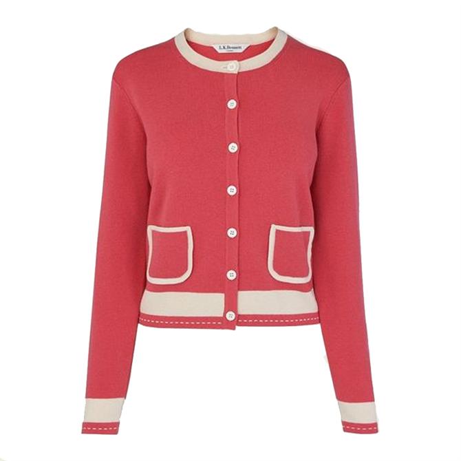 L.K. Bennett Liv Pink & Cream Cotton-Merino Wool Cardigan