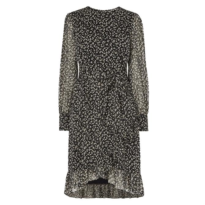 L.K. Bennett Dion Cheetah Print Frill Hem Dress