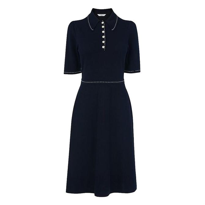 L.K. Bennett Liv Navy Cotton-Merino Wool Knitted Dress