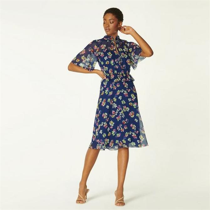 L.K. Bennett Tate Navy Daisy Print Crinkle Silk Dress