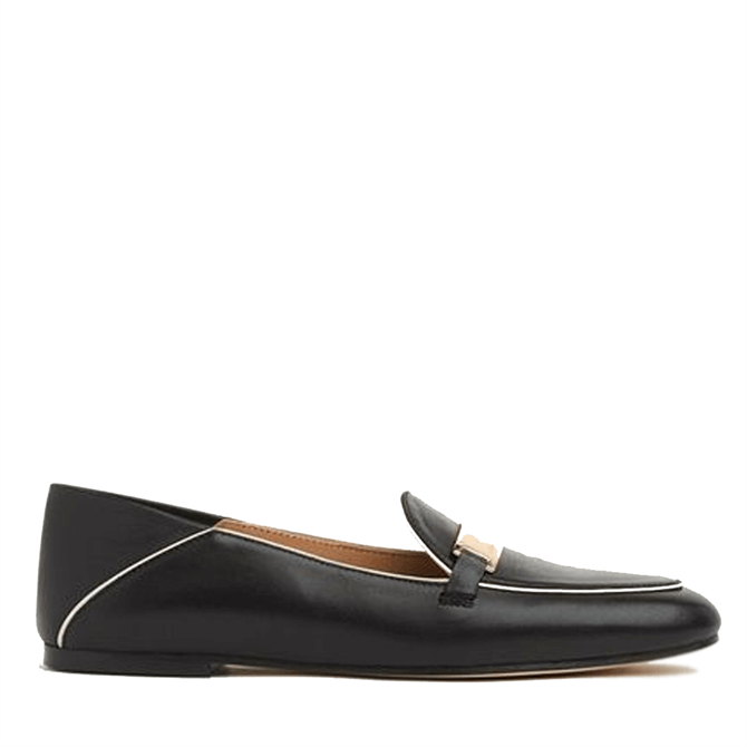 L.K. Bennett Paola Black Leather Contrast Piping Loafers