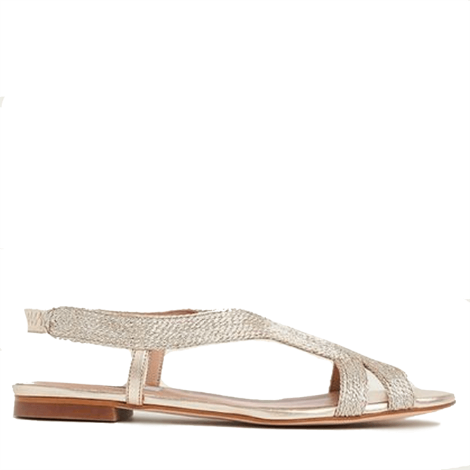 L.K. Bennett Renee Gold Lurex Rope Flat Sandals