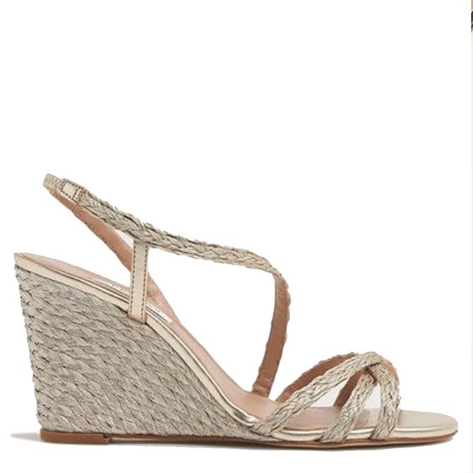 L.K. Bennett Shiela Gold Rope Wedge Sandals