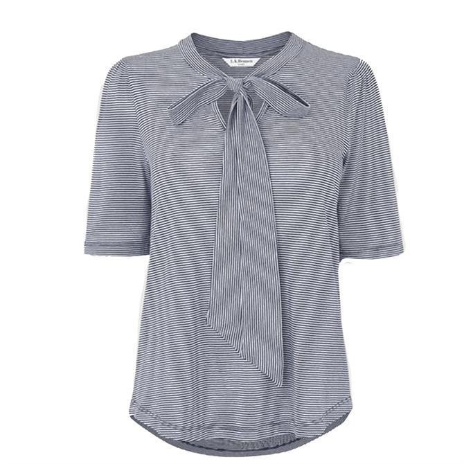 L.K. Bennett  Cali Blue Fine Stripe Cotton Modal Bow Detail T-Shirt