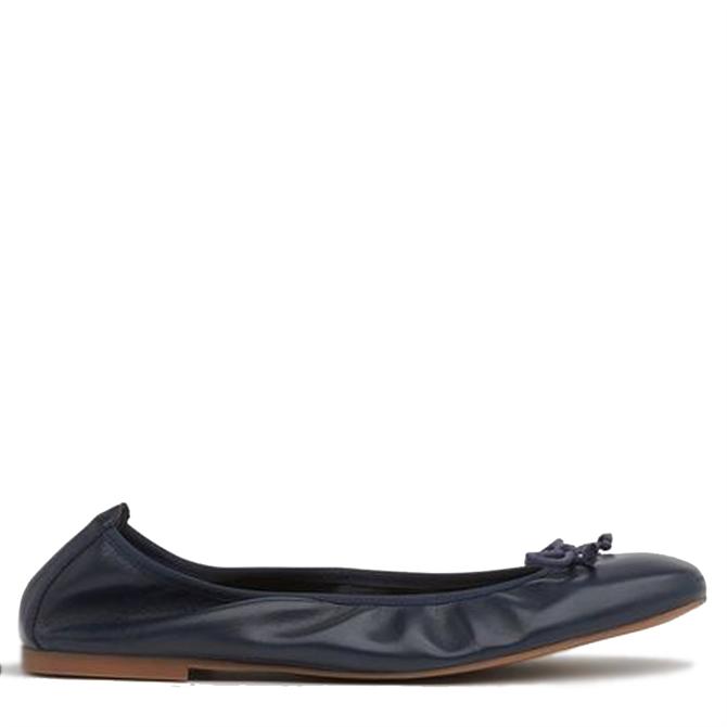 L.K. Bennett Trilly Navy Leather Ballerina Pumps
