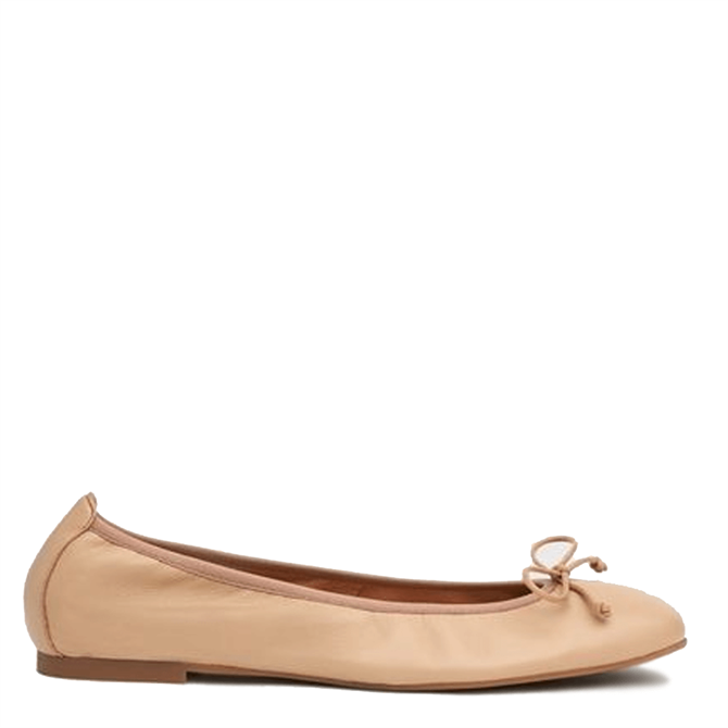 L.K. Bennett Trilly Nude Leather Ballerina Pumps