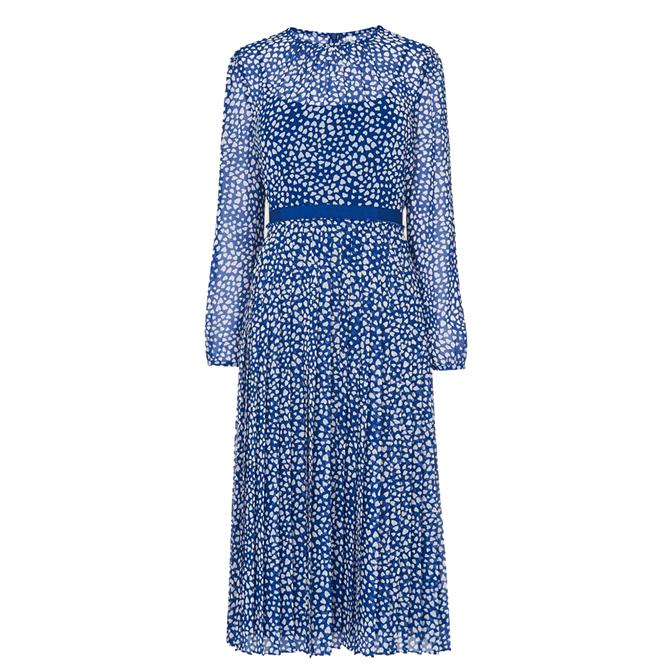 L.K. Bennett Avery Block Print Pleated Midi Dress