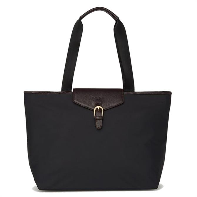 L.K. Bennett Lolita Black Nylon & Bordeaux Leather Tote Bag