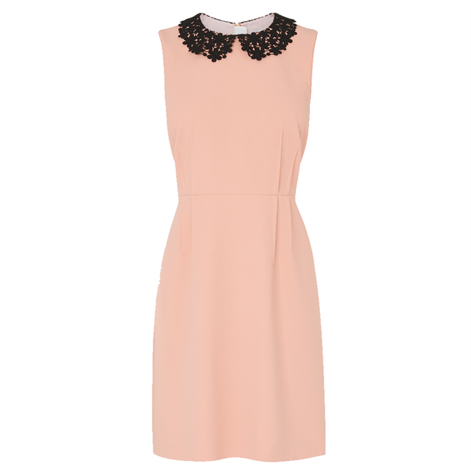 L.K. Bennett Maisie Pink Crepe Lace Collar Dress