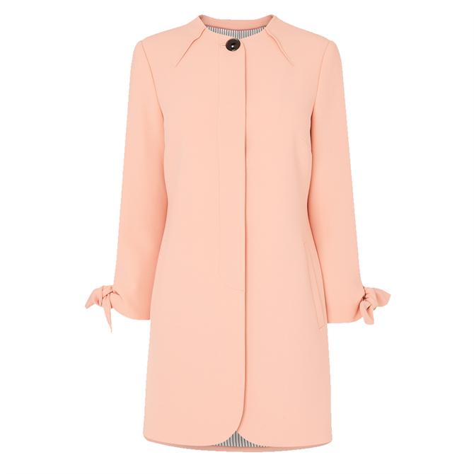L.K. Bennett Maisie Pink Crepe Tie Cuff Coat