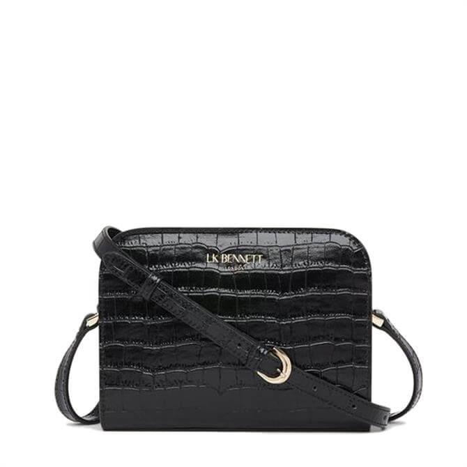 L.K. Bennett Marie Black Croc-Effect Leather Crossbody Bag