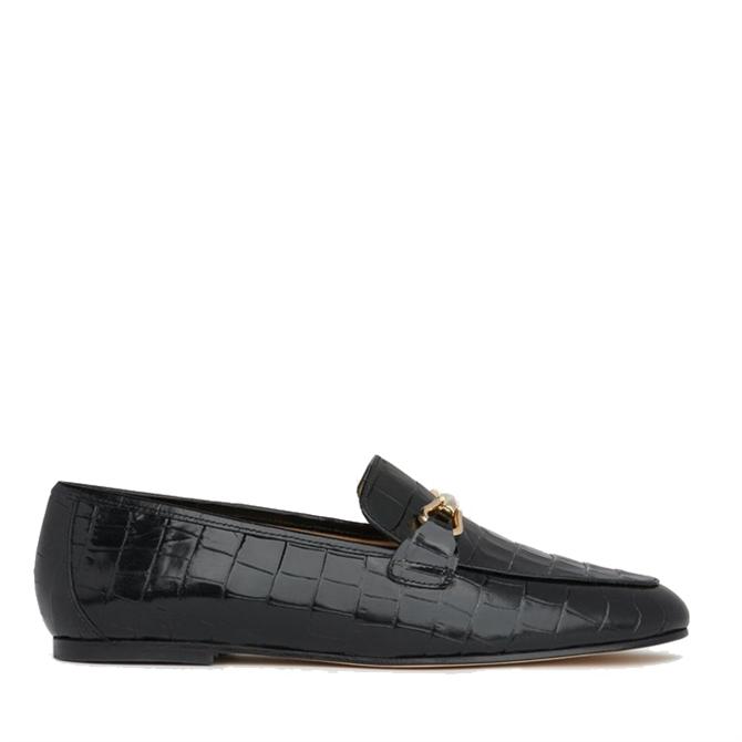 L.K. Bennett Marina Black Croc-Effect Leather Loafers