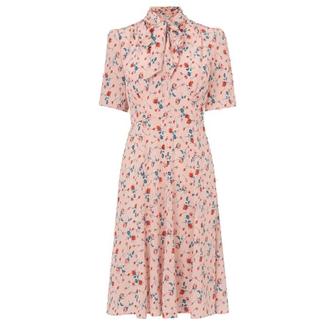 L.K. Bennett Mika Pink Scattered Rose Print Silk Tea Dress