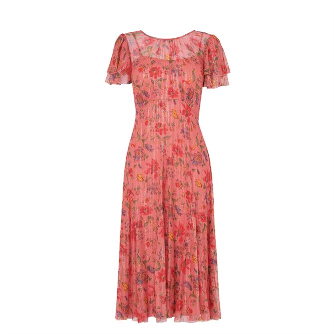 L.K. Bennett Monica Pink Romance Floral Print Lurex Silk Dresses