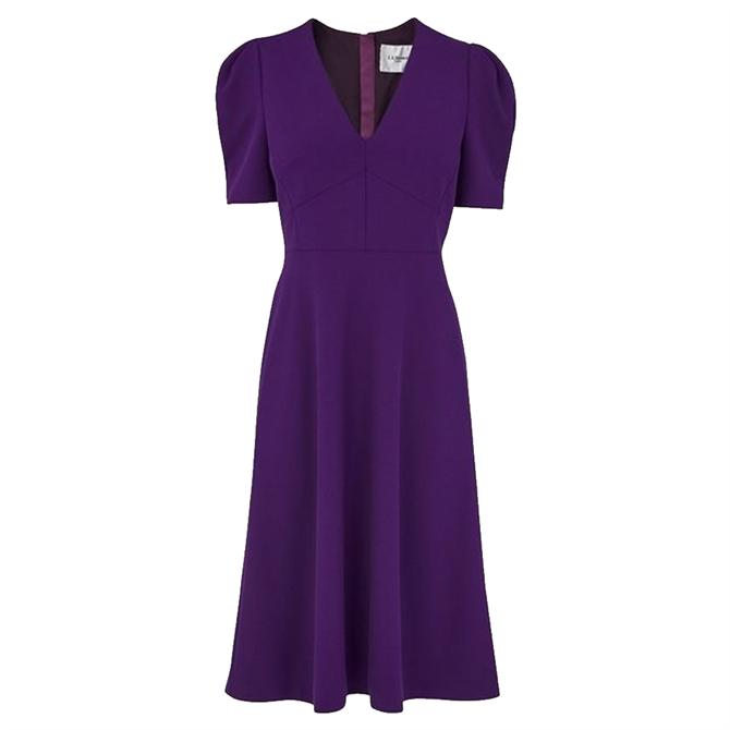 L.K. Bennett Bettina Purple Crepe Fit & Flare Dress