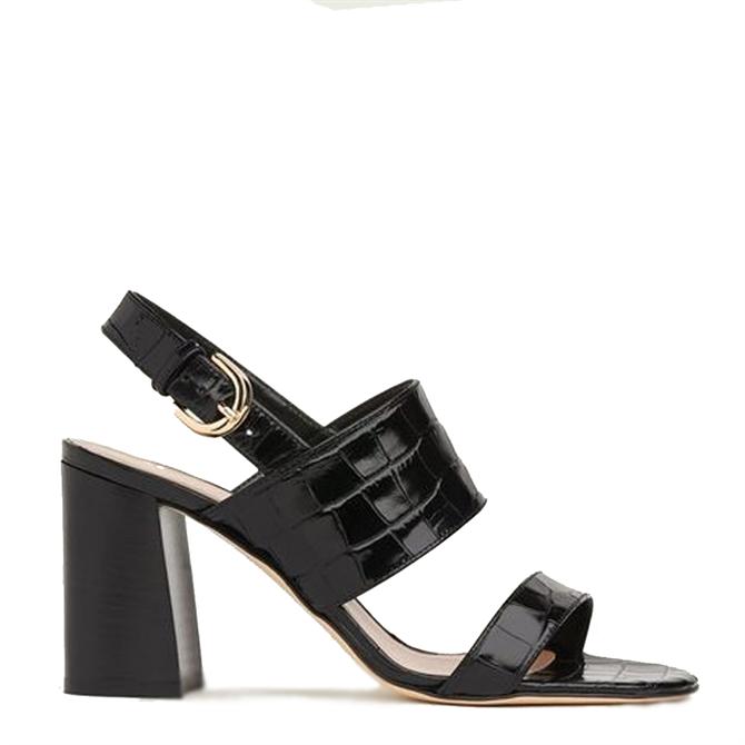 L.K. Bennett Nicolette Black Croc-Effect Leather Sandals