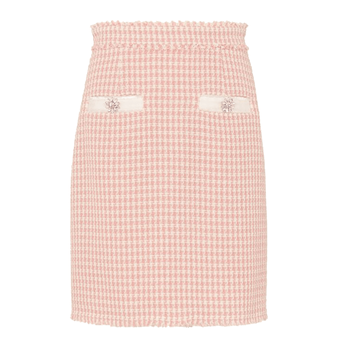 L.K. Bennett Beau Pink Cream Tweed Skirt
